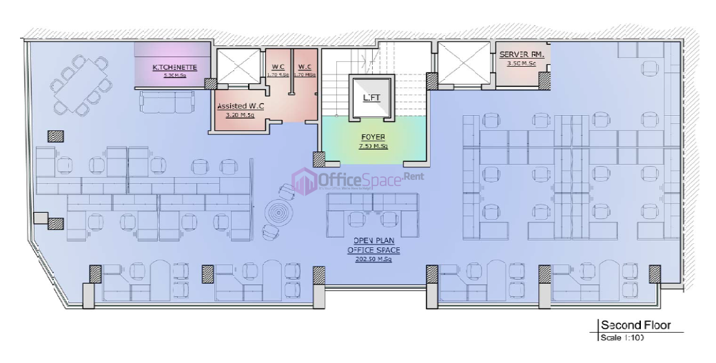 Triplex office space gzira long let office space renting for Typical office floor plan